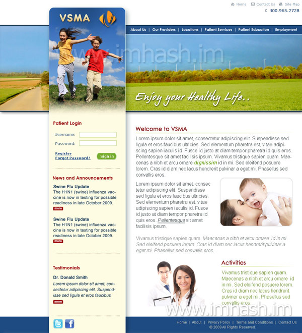 Healthcare website design Template by Hashim Ali www.www.shagilani.com